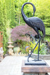 Bronze Crane Statue in Asian Inspired Garden