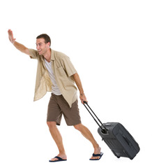 Happy tourist with wheels bag hurry to airplane