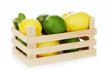 Zitronen und Limetten in Holzkiste