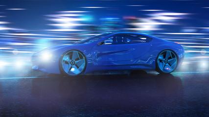 Elektro Hybrid Sportwagen Nachts 3d
