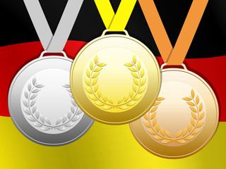 Médailles sur fond drapeau allemand