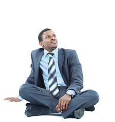 afro-american businessman relaxing