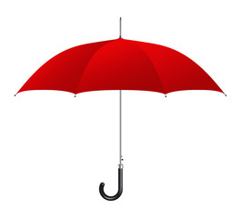 Red umbrella on white background. Vector illustration