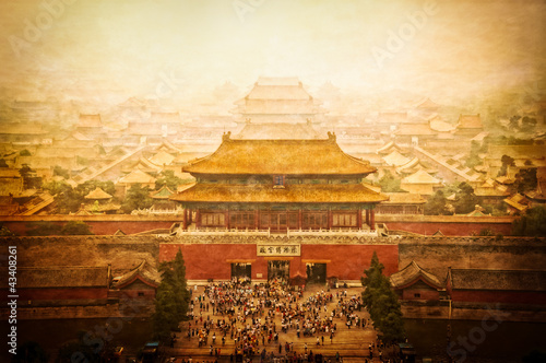 Fotobehang Beijing Forbidden city vintage view, Beijing, China