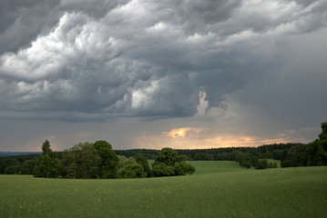 Storm clouds over green meadow
