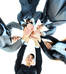 Closeup portrait of group of business people with