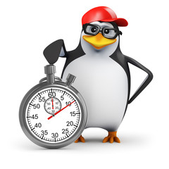 3d Penguin in baseball cap with stopwatch