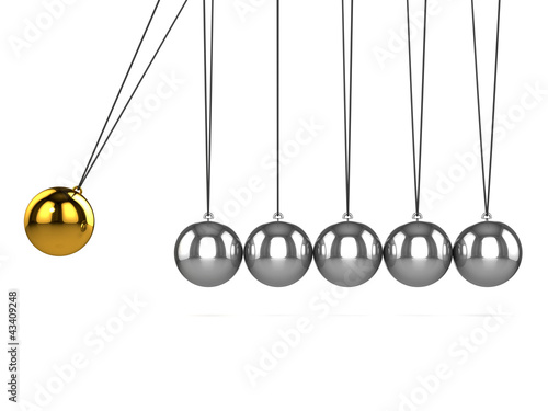 3d Newtons cradle side view gold ball