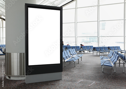 Blank Billboard in airport - 43409420