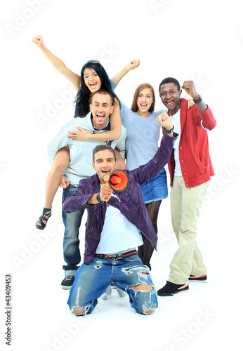 Group of people on white