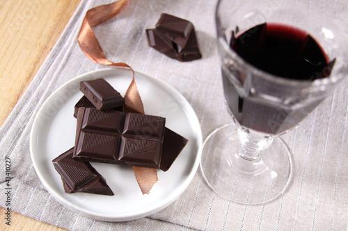 rotwein und zartbitterschokolade