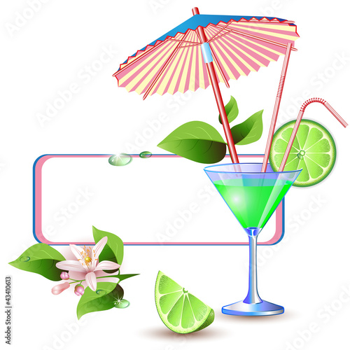 Exotic banner with juicy slices of lime fruit and flower