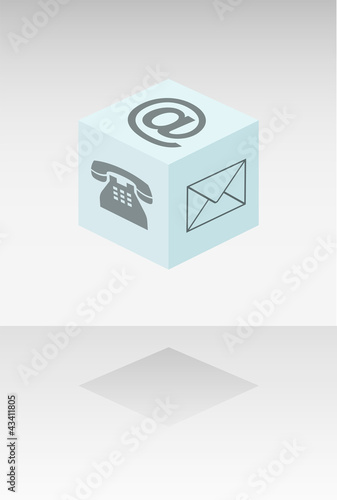 Cube with web communication symbols
