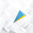 Blue arrow with orange accent. Abstract background design, vecto