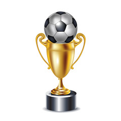 golden trophy and soccer ball