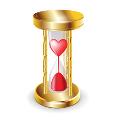 golder hourglass and red heart