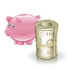 piggy bank and roll of money