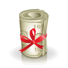 roll of money with red ribbon