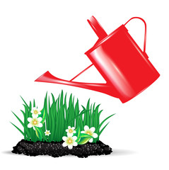 red watering can and flowers