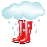 red rubber boots with rainy cloud