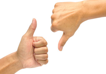 Thumb up and thumb down hand signs isolated on white