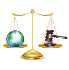 golden scales with earth globe and gavel