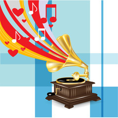 gramophone with music love concept