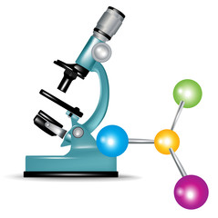 microscope and abstract molecules