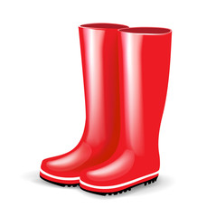single pair of red rubber boots