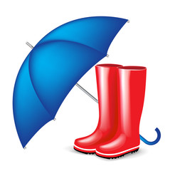 red rubber boots with blue umbrella