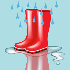 red rubber boots with rain drops and splash