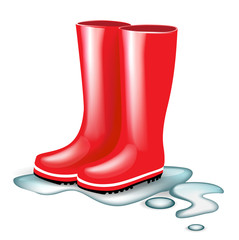red rubber boots in splash of water