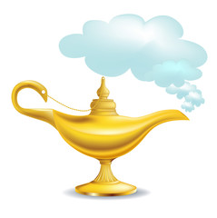 golden magic lamp with cloud