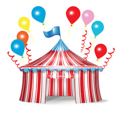 circus tent with celebration balloons