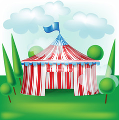 circus tent on grass background