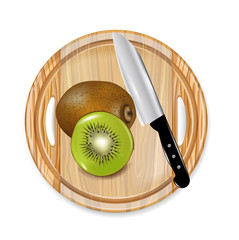 wooden board with kiwi fruit and knife