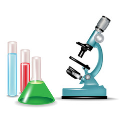 microscope and chemical substances glass containers