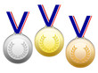 Medals with blue white red ribbons