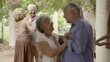 Old happy people dancing, couples of friends during dance