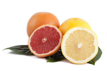yellow and red grapefruit