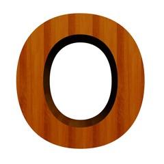 3d Font Wood Letter O