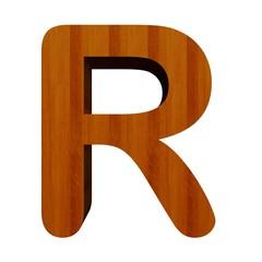 3d Font Wood Letter R