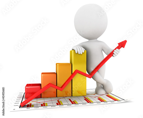3d white people business statistic graph