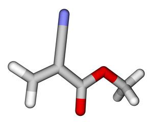 Methyl cyanoacrylate, an instant glue. 3D molecular structure