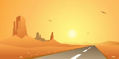 A Desert Landscape with Road, Highway
