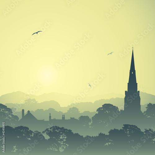 Naklejka Kraj Krajobraz z Kościoła Spire i drzewa