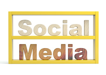 Social media sign. 3D model isolated on white