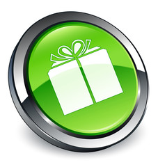 Gift box icon 3D green button