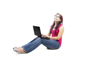 Female college student with laptop