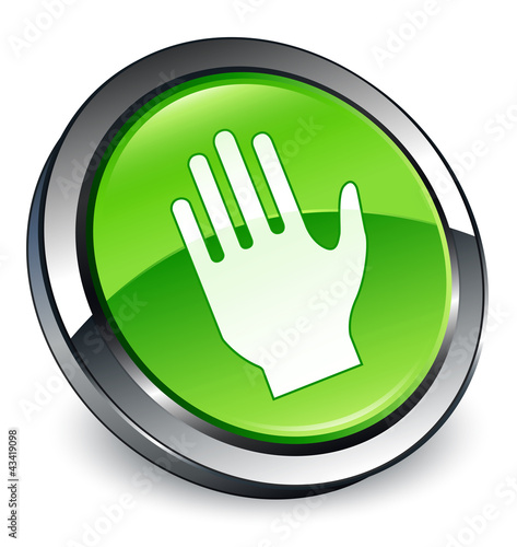 Stop hand icon 3D green button